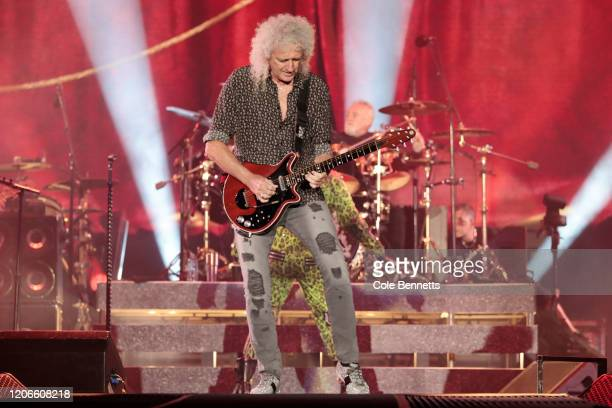 Brian May and Roger Meddows Taylor of Queen perform during Fire Fight Australia at ANZ Stadium on February 16, 2020 in Sydney, Australia.