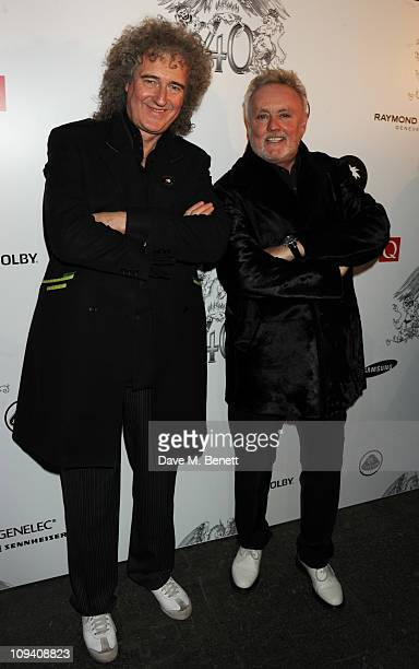 Brian May and Roger Taylor attend the private view of 'Stormtroopers In Stilettos' an exhibition celebrating 40 years of the band Queen at The Old...