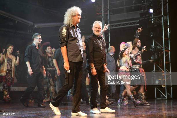 Brian May and Roger Taylor during the curtain call of the final performance of 'We Will Rock You' at the Dominion Theatre on May 31 2014 in London...