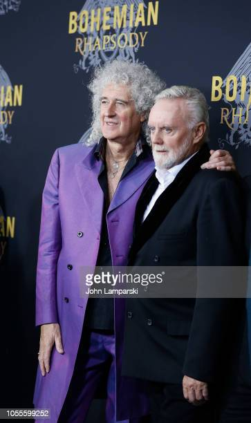 Brian May and Roger Taylor of Queen attend Bohemian Rhapsody New York premiere at The Paris Theatre on October 30 2018 in New York City