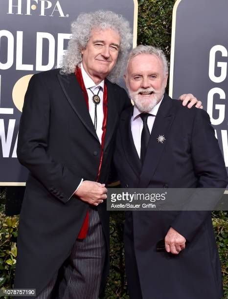 Brian May and Roger Taylor of Queen attend the 76th Annual Golden Globe Awards at The Beverly Hilton Hotel on January 6 2019 in Beverly Hills...