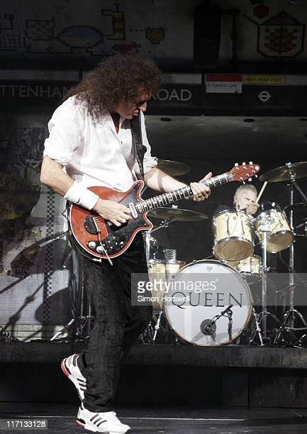 Brian May and Roger Taylor of Queen during We Will Rock You Charity Performance to Celebrate Freddie Murcury's 60th Birthday at The Dominion Theatre...