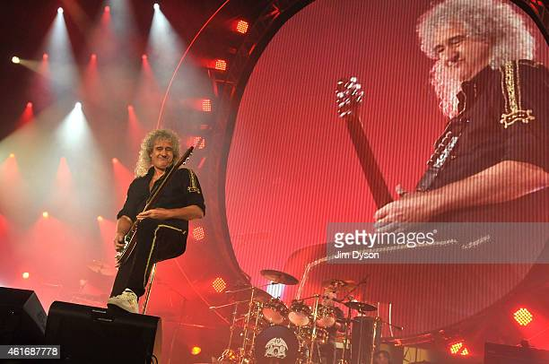 Brian May and Roger Taylor of Queen perform live on stage at 02 Arena on January 17 2015 in London England