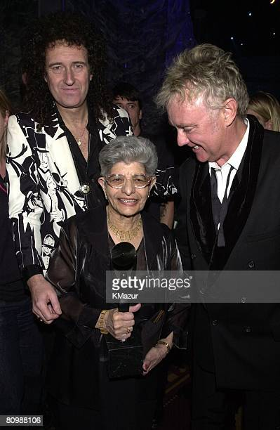 Brian May and Roger Taylor of Queen with Jer Bulsara Freddie Mercury's mother