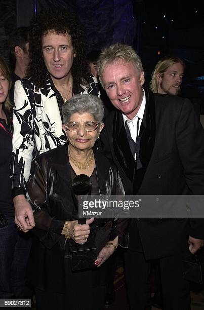Brian May and Roger Taylor of Queen with Jer Bulsara Freddie Mercury's mother and presenter Dave Grohl