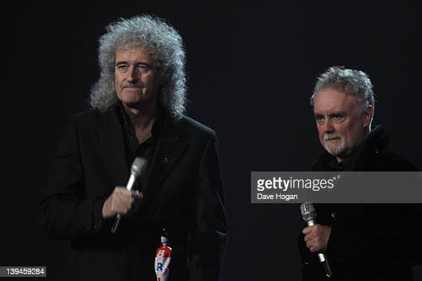Brian May and Roger Taylor onstage at The Brit Awards 2012 at The O2 Arena on February 21 2012 in London England
