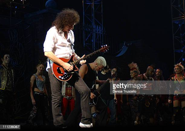 """Brian May and """"We Will Rock You"""" Las Vegas Cast during Brian May Special Performance in """"We Will Rock You"""" at Paris Hotel and Casino in Las Vegas,..."""