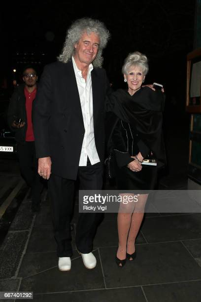 Brian May and wife Anita Dobson leaving the press night after party for the English National Opera's production of Rodgers Hammerstein's 'Carousel'...