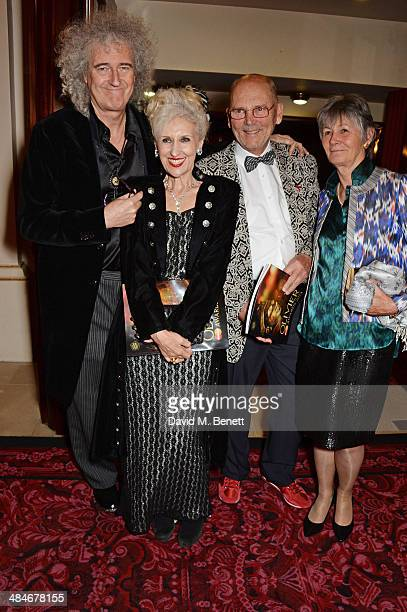 Brian May Anita Dobson Jim Beach and guest attend an after party following the Laurence Olivier Awards at The Royal Opera House on April 13 2014 in...