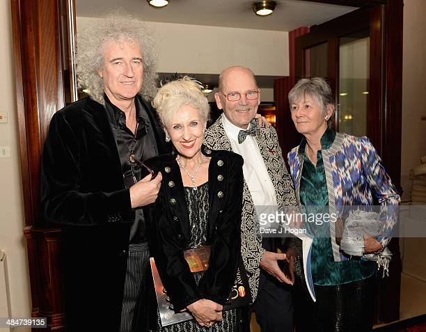 Brian May Anita Dobson Jim Beach and guest attend the Laurence Olivier Awards after party at The Royal Opera House on April 13 2014 in London England