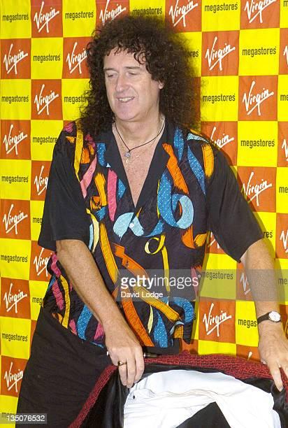 "Brian May, guitarist of Queen during Brian May Signs Copies of ""We Will Rock You"" at Virigin Megastore - September 28, 2004 at Virgin Megastore..."