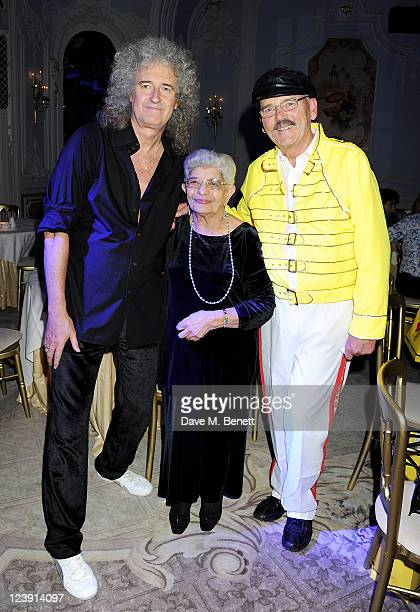 Brian May Jer Bulsara and Jim Beach attend Freddie For A Day celebrating Freddie Mercury's 65th birthday in aid of The Mercury Pheonix Trust at The...