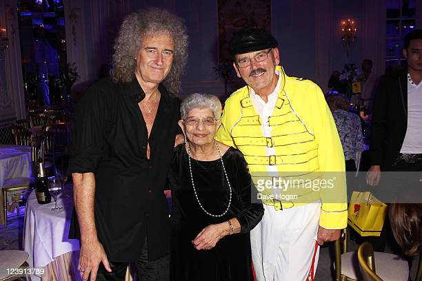 Brian May Jer Bulsara and Jim Beach attend the Freddie For A Day 65th birthday anniversary party at The Savoy Hotel on September 5 2011 in London...