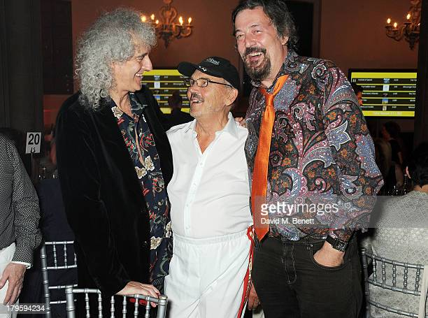 Brian May Jim Beach and Stephen Fry attend the Queen AIDS Benefit in support of The Mercury Phoenix Trust at One Mayfair on September 5 2013 in...