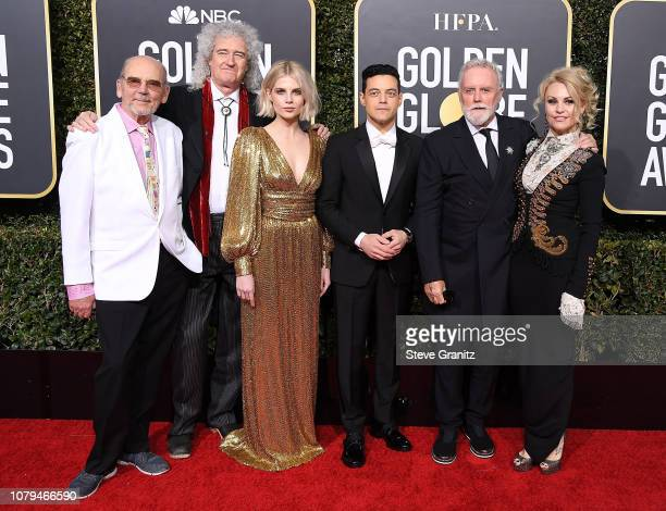 Brian May Lucy Boynton Rami Malek and Roger Taylor arrives at the 76th Annual Golden Globe Awardsat The Beverly Hilton Hotel on January 6 2019 in...