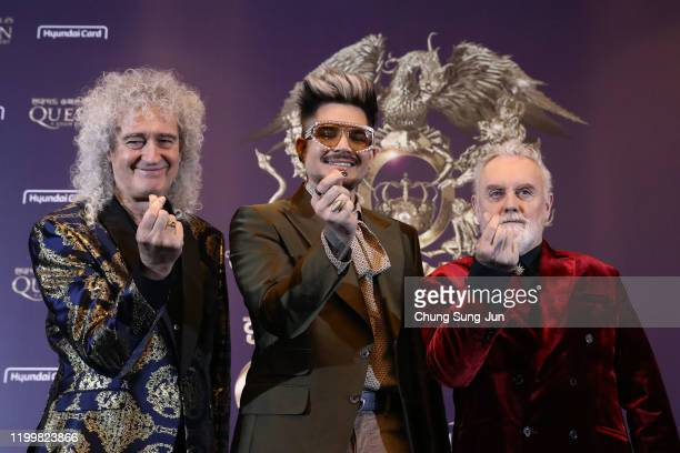 Brian May of Queen, Adam Lambert and Roger Taylor of Queen attend the press conference ahead of the Rhapsody Tour at Conrad Hotel on January 16, 2020...