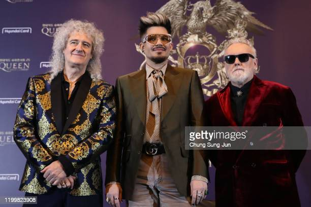 Brian May of Queen Adam Lambert and Roger Taylor of Queen attend the press conference ahead of the Rhapsody Tour at Conrad Hotel on January 16 2020...