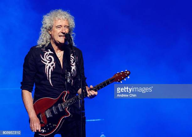 Brian May of Queen Adam Lambert performs on stage at Pepsi Live at Rogers Arena on July 2 2017 in Vancouver Canada