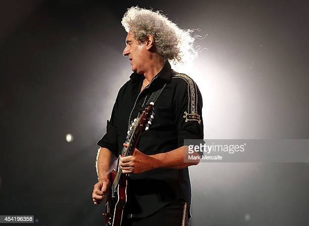 Brian May of QUEEN and Adam Lambert perform on stage during QUEEN'S first tour of Australia since 1985 at Allphones Arena on August 26 2014 in Sydney...