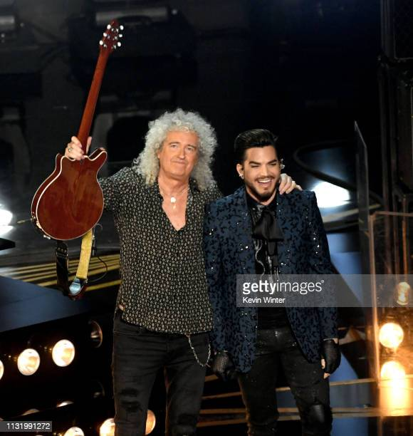 Brian May of Queen and Adam Lambert perform onstage during the 91st Annual Academy Awards at Dolby Theatre on February 24 2019 in Hollywood California