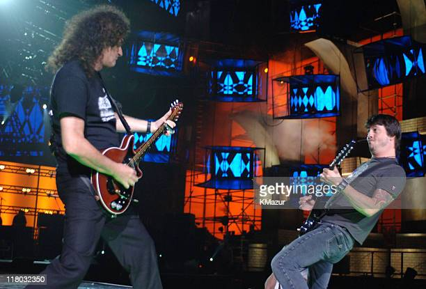 Brian May of Queen and Dave Grohl of Foo Fighters during 2006 VH1 Rock Honors Rehearsals Day One at Mandalay Bay Hotel and Casino in Las Vegas Nevada...