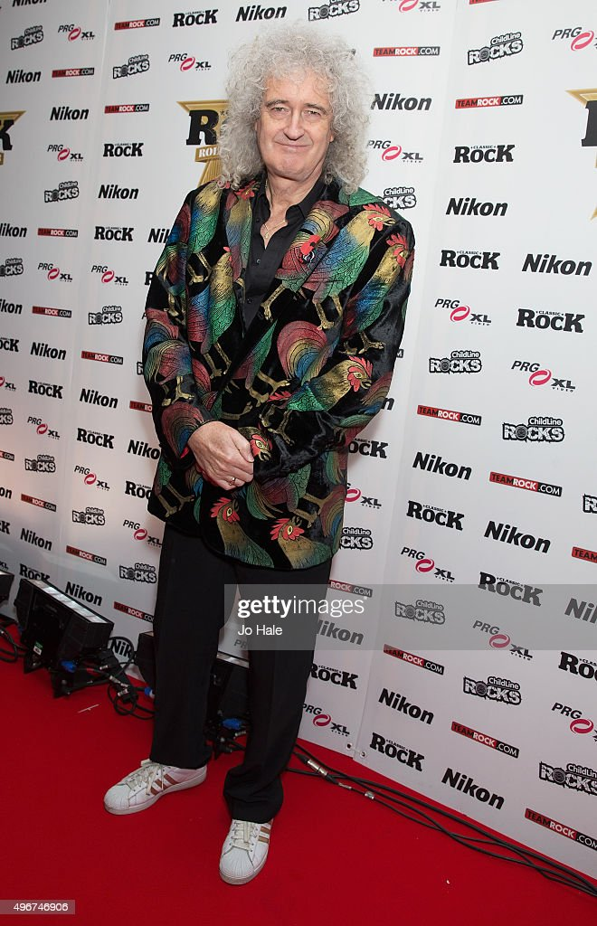 Brian May of Queen attends the Classic Rock Roll of Honour at The Roundhouse on November 11, 2015 in London, England.