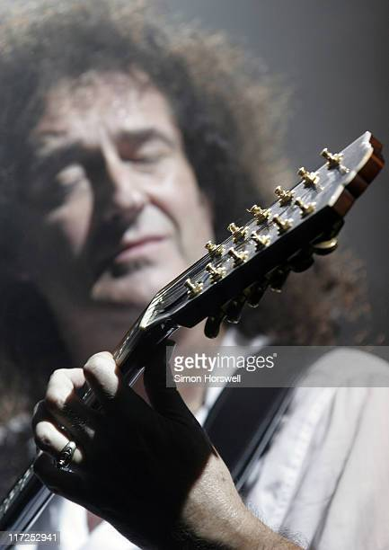 Brian May of Queen during We Will Rock You Charity Performance to Celebrate Freddie Murcury's 60th Birthday at The Dominion Theatre in London Great...