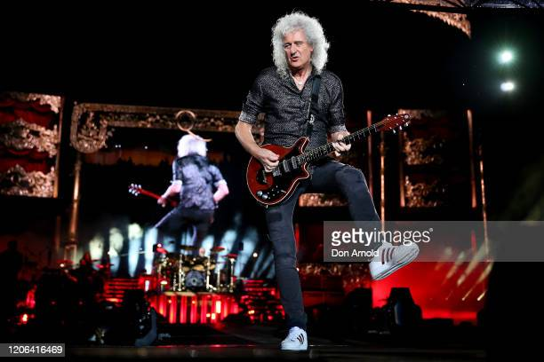 Brian May of Queen performs at ANZ Stadium on February 15 2020 in Sydney Australia