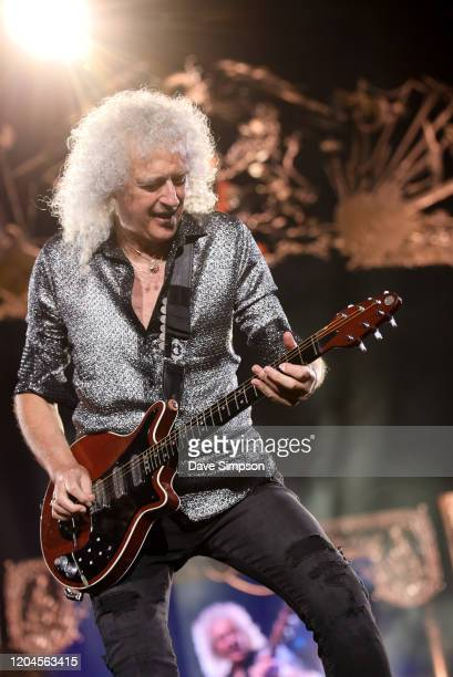 Brian May of Queen performs at Mt Smart Stadium on February 07 2020 in Auckland New Zealand
