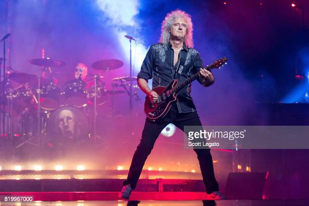 Brian May of Queen performs at The Palace of Auburn Hills on July 20 2017 in Auburn Hills Michigan