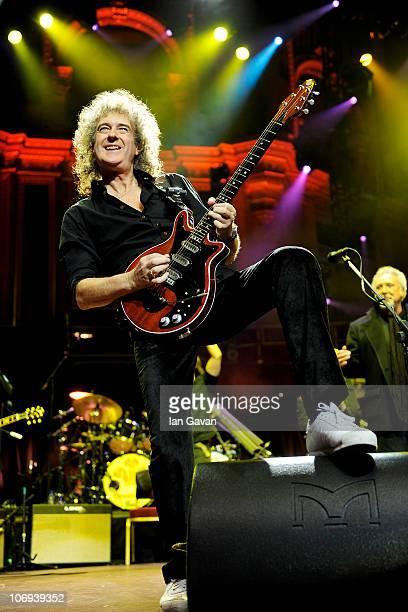 Brian May of Queen performs at The Prince's Trust Rock Gala 2010 supported by Novae at the Royal Albert Hall on November 17 2010 in London England
