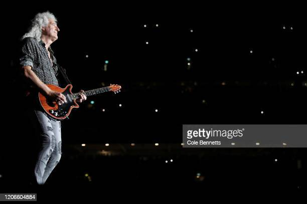 Brian May of Queen performs during Fire Fight Australia at ANZ Stadium on February 16, 2020 in Sydney, Australia.