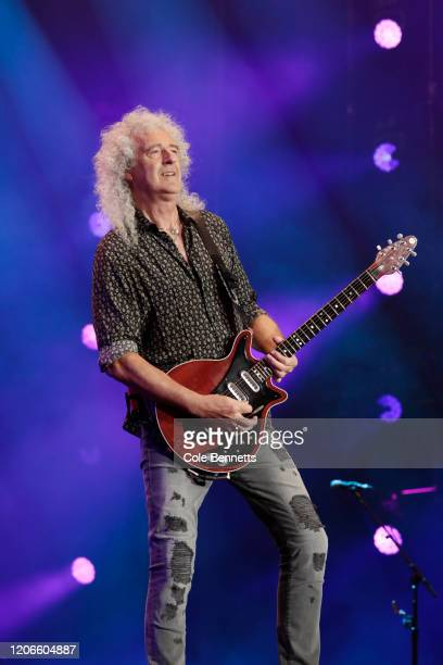 Brian May of Queen performs during Fire Fight Australia at ANZ Stadium on February 16 2020 in Sydney Australia