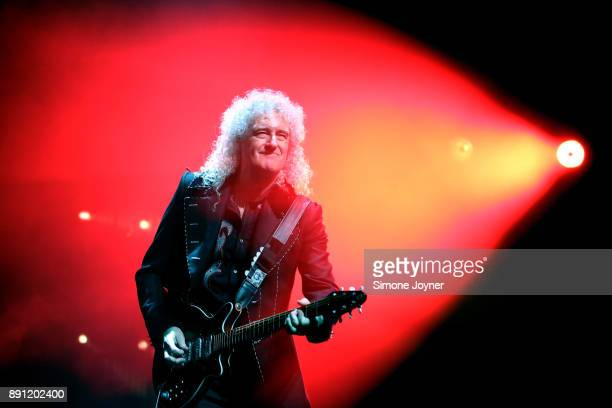 Brian May of Queen performs live on stage at The O2 Arena on December 12 2017 in London England