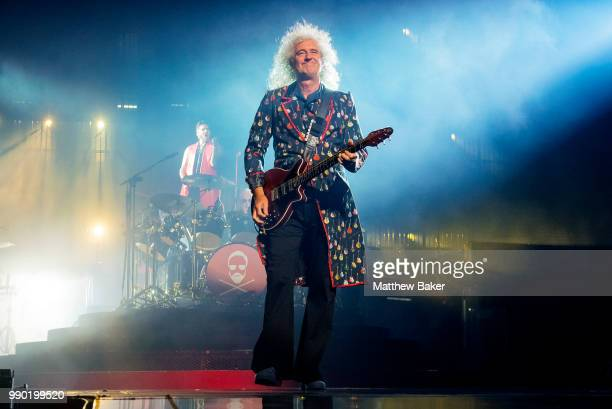 Brian May of Queen performs live on stage at The O2 Arena on July 2 2018 in London England
