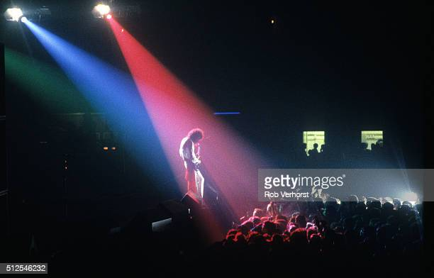 Brian May of Queen performs on stage at Groenoordhal, Leiden, Netherlands, 20th September 1984.