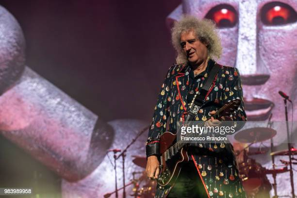 Brian May of Queen performs on stage at Mediolanum Forum on June 25 2018 in Milan Italy