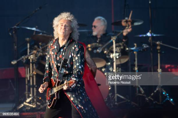 Brian May of Queen performs on stage during TRNSMT Festival Day 4 at Glasgow Green on July 6 2018 in Glasgow Scotland