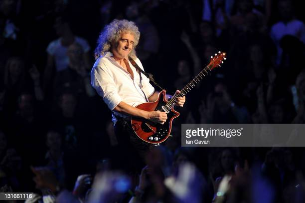 Brian May of Queen performs onstage during the MTV Europe Music Awards 2011 live show at the Odyssey Arena on November 6 2011 in Belfast Northern...
