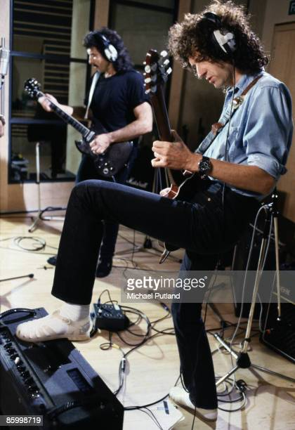 Brian May of Queen recording with Tony Iommi at Metropolis Studios in Chiswick, London, for Rock Aid Armenia, the Armenian earthquake appeal, 8th...
