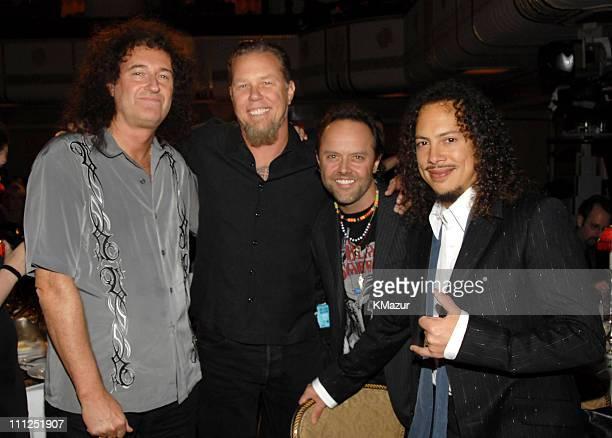 Brian May of Queen with James Hetfield Lars Ulrich and Kirk Hammett of Metallica