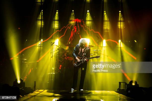 Brian May of the English rock band Queen pictured on stage as they perform live at Unipol Arena in Bologna Italy