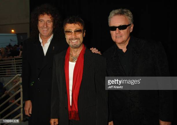 Brian May Paul Rodgers and Roger Taylor of Queen during 2006 VH1 Rock Honors Red Carpet at Mandalay Bay Hotel and Casino in Las Vegas United States...