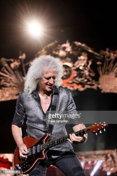 Brian May performs at Mt Smart Stadium on February 07 2020 in Auckland New Zealand