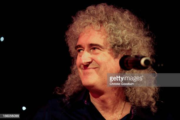 Brian May performs on stage as part of the Kerry Ellis Brian May Born Free Tour at the Union Chapel on November 11 2012 in London England
