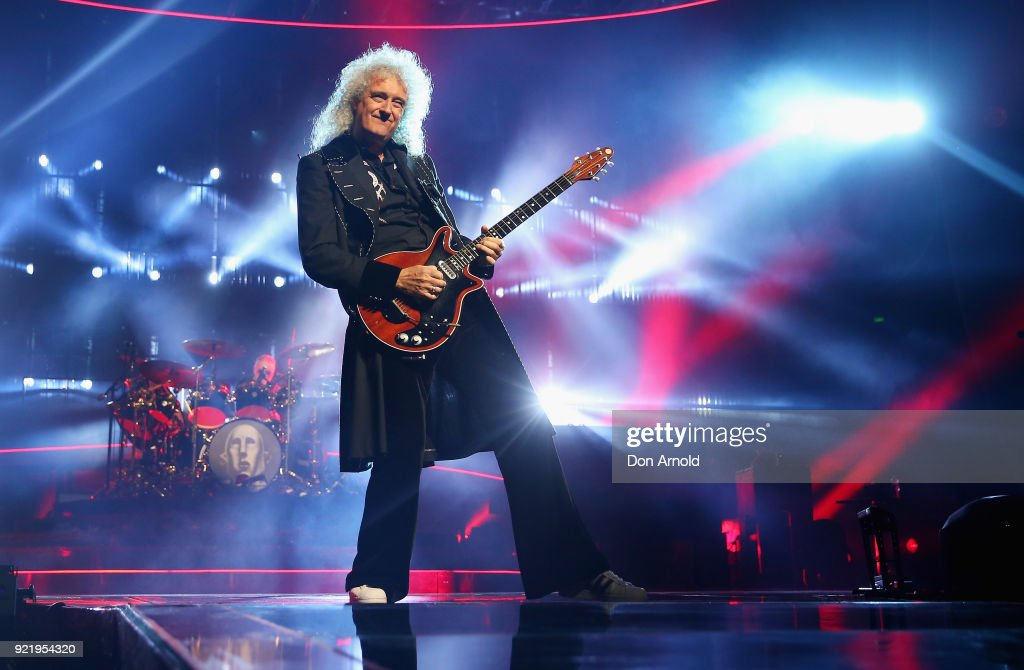 Brian May performs with Queen at Qudos Bank Arena on February 21, 2018 in Sydney, Australia.