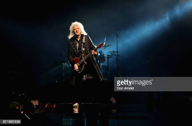 Brian May performs with Queen at Qudos Bank Arena on February 21 2018 in Sydney Australia