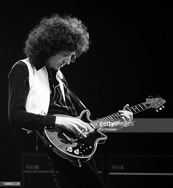Brian May performs with Queen at the Oakland Coliseum in December 1978 in Oakland California