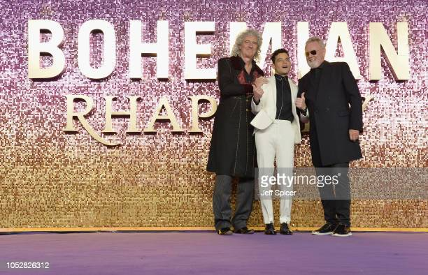 Brian May Rami Malek and Roger Taylor attend the World Premiere of 'Bohemian Rhapsody' at SSE Arena Wembley on October 23 2018 in London England