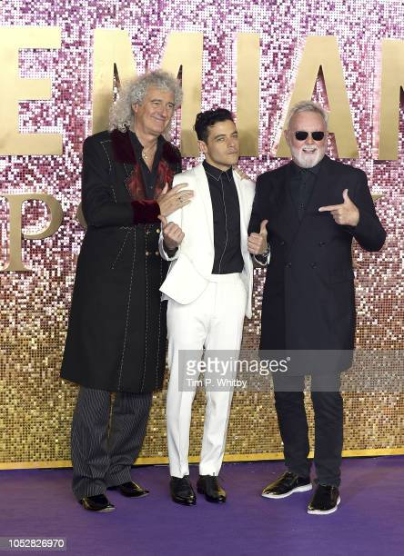 Brian May Rami Malek and Roger Taylor attend the World Premiere of 'Bohemian Rhapsody' at The SSE Arena Wembley on October 23 2018 in London England